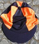 Riding Hat Silk Skull cap Cover NAVY BLUE & ORANGE With OR w/o Pompom