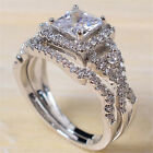 Unqiue Women Silver-Plated Crystal Rhinestone Wedding Ring Jewelry Hot Size6-10