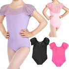 Children Girls Gymnastic Ballet Leotards Lace Short Sleeve Dance Unitards 3-12Y