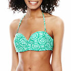 Stylus Print Push-Up Bandeau Swim Top Size S, L Msrp $40.00 New Green Multi