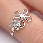 925 Sterling Silver Clear CZ Summer Flowers Romantic Love Elegant Ring Size 3-11