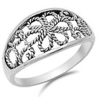 925 Sterling Silver Rope Twisted Design Romantic Flower Floral Ring Size 3-11