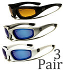 3 PAIR Chopper Padded Foam Wind Resistant Sunglasses Motorcycle Riding Combo