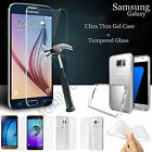 TPU Clear Gel Case Cover and Tempered Glass Screen Protector for Samsung Range