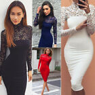 Womens Floral Lace Long Sleeve Bodycon Pencil Evening Party Cocktail Midi Dress