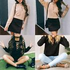 New Women's Solid Lace V-neck Sweaters Casual Kit Pullover Prothorax Hollow out