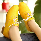 New Fashion Sweet Women's Mary Janes Mid Heel Lace Up Flat Oxford Casual Shoes