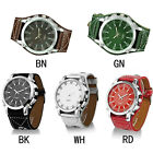 Men's Fashion Alloy Leather Strap Oversize Wrist Watch Buckle Quartz Dial Watch