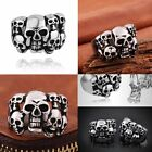 Hot Fashion Men's Punk Rock Floral Skull Biker Ring Jewelry Stainless Steel