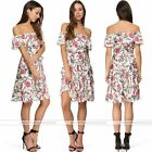 Womens Off Shoulder Floral Printing Chiffon Dress Evening Cocktail Party Dresses