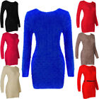 Cable Knit Textured Mohair Long Sleeve Tunic Top Dress Jumper Womens Size  Women