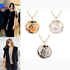 Double Hollow Carved Crystal Rhinestone Necklace Long Sweater Chain Jewelry New