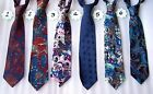 Modern Designer Blue Multi-coloured Patterned Silk Tie Paisley Navy Pink Teal **