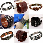 Vintage Wide Brown Leather Bracelet Cuff Wristband for Men Women's Gift