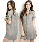 Casual Cuffed Short Sleeve Relaxed Fit Cool Button Up Tunic Shift Shirt Dress