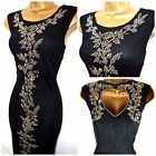 NEW M&CO EMBELLISHED MAXI DRESS BLACK MESH BEADED PARTY CRUISE OCCASION 8 - 22