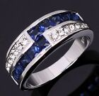 Fashion Women 925 Silver Sapphire Square Ring Engagement Bridal size6-10