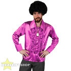 MENS PINK 1970'S DISCO RUFFLE SHIRTS ADULTS FANCY DRESS COSTUME 70'S FRILLY TOP