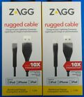 Lot Zagg Rugged Charge Sync Lightning Cable Apple iPod iPhone 7+ 6S 5S iPad Air