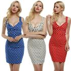 Women Deep V-Neck Sleeveless Polka Dot Slim Fit Bodycon Dress N98B