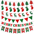 DIY Banner Bunting Flags Christmas Party Hanging Decor Santa Claus/Tree/Reindeer