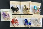 New Vintage Rhinestone Bow Flower Acrylic Brooches For Women Pin Crystal Broches