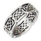 STAINLESS STEEL ANTIQUED FILIGREE CELTIC KNOT ETERNITY BAND RING SIZE 8 - 15