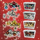 Christmas Tree Baubles Decorations Shatterproof set 86 Glitter Shiny Balls Xmas