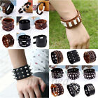 Cool Men's Braided Genuine Leather Stainless Cuff Bangle Bracelet Wristband Punk