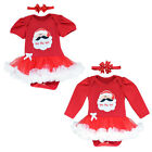 Girls Romper Leisure Cotton Sleepwear Christmas Santa Claus Short Sleeve