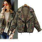 Fashion Women's Army Green Long Sleeve Floral Casual Camouflage Jacket Outwear