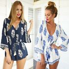 Sexy Ladies Floral Playsuit V Neck 3/4 Sleeve Trousers Jumpsuit Short Romper B20