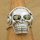Green CZ Eye 925 Sterling Silver DJ Skull Studio Music Headphone Mens Ring 8Y311