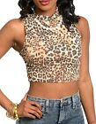 Brown Leopard Cropped Sleeveless Tank Top w/ Faux Pearl Necklace