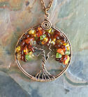 Autumn/Fall Tree of Life Necklace,Amber,Hessonite Garnet,Peridot,Carnelion