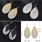 Fashion Women Unique Hot Frosted Leaves Rhombus Chic Long Dangle Earrings 1 Pair