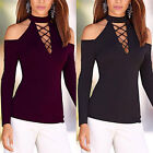 New Women's Casual Long Sleeve Shirt Lace-Up Tops Blouse Off Shoulder T-Shirt UK