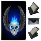 Flaming Fire Skulls Universal Folio Leather Case For Samsung Tablets
