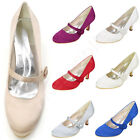 Satin Wedding Shoes Comfortable Stiletto Mid Heels Round Toe Strappy Women Pumps