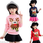 New Girl's Warm Pullover Thick Sweater Santa elk Knitwear Hoodie Christmas Tops