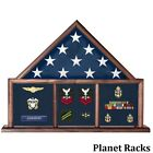 Planet Racks 5 ft x 9.5 ft  Flag Case Three Bay - US Service Uniform Fabric Back