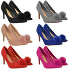 Womens Ladies Low Mid Heel Sandals Pom Pom Party Prom Stiletto Court Shoes Size