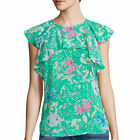 I Heart Ronson Flutter-Sleeve Top Size L, XL New Msrp $44.00 Green Peony