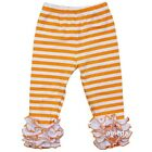 Girls Orange Stripes White Ruffle Icing Leggings Pants