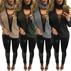 New Women Low Cut V Neck Chocker Ribbed Knit Jumper Sweater Lace-up Tops Shirt