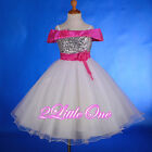 Sequin Tulle Flower Girl Dress Wedding Pageant Party White Hot Pink 18m-8 #214