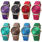 Unisex Women Dress Watches Geneva Watch Leather Band Analog Quartz Wrist Watch