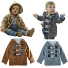Baby Boys Coats Hooded Winter Warm Fleece Horn Button Snowsuit Outerwear 3M-4Y