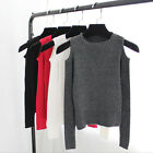Fashion women knitted off shoulder tops tight slim T-shirt long sleeve Blouse HF