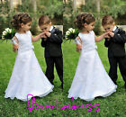 Lace Applique Flower Girls Kid's Party Prom White First Communion Bridal Dresses